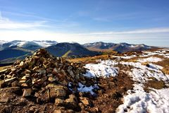 Snow and Cairn on Sail. The Cumbrian Mountains in early spring from Sail Stock Photography