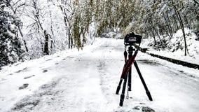 Snow and camera Stock Photos