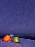 Snow Camping and Light Painting on Seymour Mountain Stock Photo