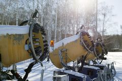 Snow cannon for artificial snow at ski resort Royalty Free Stock Images