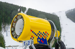 Snow cannon making artificial snow Stock Images