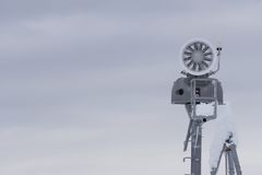 Snow cannon in the mountain ski resort Royalty Free Stock Image