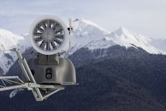 Snow cannon in the mountains Stock Photography