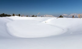Snow Cannon Reservoir Lake In Winter, Austria Stock Photography
