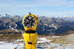 The snow cannon in ski resort Stock Photo