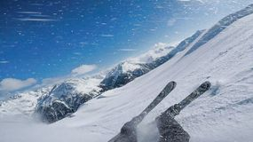 Man Down on Winter Slopes Austria Solden with Ski Royalty Free Stock Photo