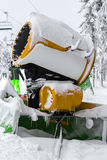 Snow cannon in snowy ski resort Stock Photos