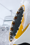 Snow cannon in snowy ski resort Stock Images