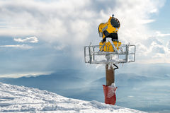 Snow cannon in winter mountain Royalty Free Stock Image