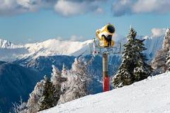 Snow cannon in winter mountain Stock Photos