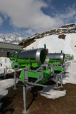 Snow cannons in the mountains Royalty Free Stock Photos