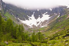 Snow in a canyon high in the Alpine mountains royalty free stock photography
