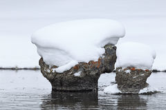 Snow cap rock on Yellowstone River Stock Images