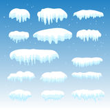 Snow cap. Set of snow-cap, ice caps on blue transparent background. Snowdrifts, icicles, elements winter decor. Christmas and New Year Holiday decoration. Snow Royalty Free Stock Photo