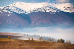 Snow caped mountains. Morning fog in valley. Misty hills Royalty Free Stock Photos