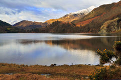 Snow caped Yr Aran and winter colours of snowdonia foothills reflected in Llyn Gwynant. Snow caped Yr Aran and winter colours of snowdonia foothills reflected in Stock Image