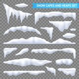 Snow Capes And Piles Transparent Set Royalty Free Stock Photography
