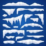 Snow Capes And Piles Winter Set. Snow capes and piles winter realistic set on blue background vector illustration stock illustration