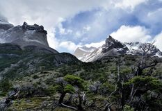 Snow-capped granite peaks above bare tree branches in Torres del Paine National Park, Patagonia Chile. Black snow-capped peaks on the W Trek in Torres del Paine royalty free stock photo