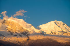 Snow-capped Huascaran during sunset Royalty Free Stock Image