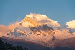 Snow-capped Huascaran during sunset Stock Photography