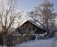 Snow-capped log cabin. In surroundings trees and fence on a background clear sky Royalty Free Stock Images