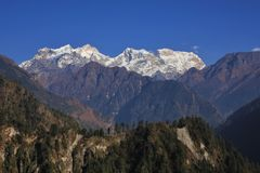 Snow capped Manaslu range Royalty Free Stock Photos