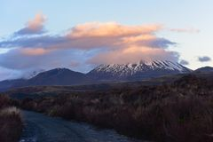 Snow-capped Mount Nagauruhoe in Tongariro National Park. In New Zealand Stock Photography