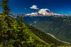Snow Capped Mount Rainier from Top of Crystal Mountain. Stock Photos
