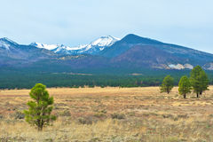 Snow capped mountain in Arizona. Landscape image of snow capped mountains taken at Sunset Crater National Park in Arizona Stock Photo