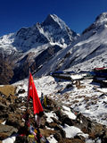 Snow-capped mountain, base camp Stock Images