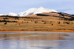 Snow Capped Mountain and Frozen Lake Royalty Free Stock Images