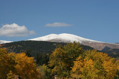Snow Capped Mountain with Gold Aspens Stock Photos