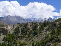 Snow capped mountain from Kali Gandaki river valley, Nepal Stock Photo