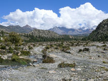 Snow capped mountain from Kali Gandaki river valley, Nepal Royalty Free Stock Photos