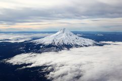 Snow-capped mountain peak from the air. Snow-capped mountain peaks of mt hood rise above the clouds in Oregon Stock Photos