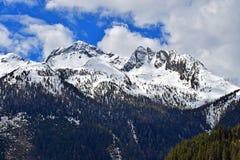 Snow capped mountain peak. On Alps Royalty Free Stock Photos