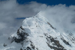 Snow capped mountain peak of Andes stock photos