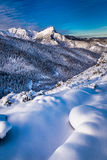 Snow capped mountain peaks at sunrise in winter Stock Photography