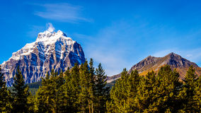 Snow capped mountain peaks in Yoho National Park Royalty Free Stock Photos