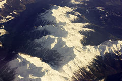 Snow-Capped Mountain Range from Above Royalty Free Stock Photos