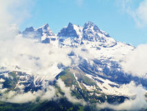 Snow capped mountain view landscape Alps Royalty Free Stock Images