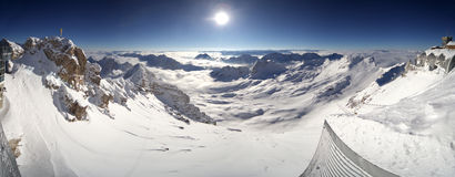 Snow Capped Mountains. Panoramic view from the highest peak of Germany, Zugspitze Royalty Free Stock Photography