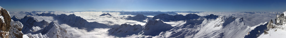 Snow Capped Mountains. Panoramic view from the highest peak of Germany, Zugspitze Stock Image