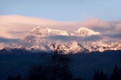 Snow capped mountains. Snow capped moutains in the andes Royalty Free Stock Photos