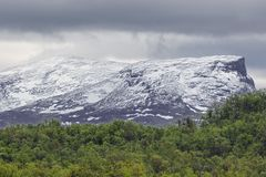 Snow capped mountains in Abisko National Park stock image