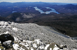 Snow capped mountains and alpine landscape in the Adirondacks, New York State Stock Images