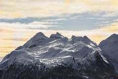 Snow-capped mountains. Alps, winter landscape. Ski resort. Bellamonte, Lusia, Valbona, Dolomites, Italy, Trentino, Trentino Alto A. Snow-capped mountains. Alps royalty free stock image
