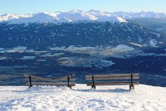 Snow capped mountains, austrian alps, Innsbruck Royalty Free Stock Image