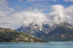 Snow capped mountains in the Glacier Bay National Park Royalty Free Stock Image